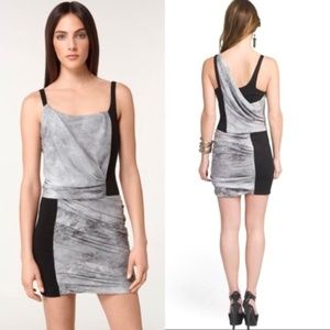 Helmut Lang Dresses - NWOT Helmut Lang Gray and Black Drape Mini Dress